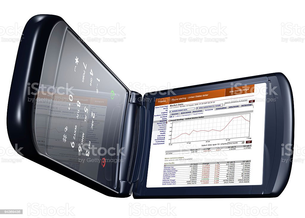 Generic Clamshell Phone Showing Web Page royalty-free stock photo