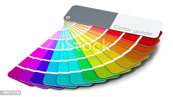 Generic color guide showing red, green, blue and purple color tones isolated on white.