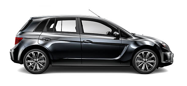 Generic compact black car stock photo