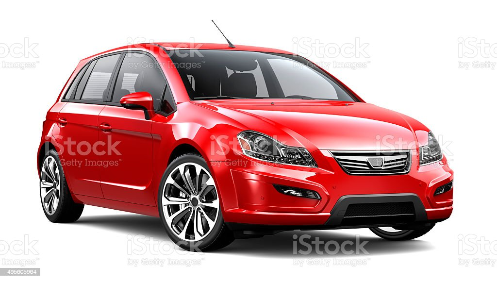 Generic compact red car stock photo