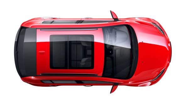 Generic compact red SUV car- top view stock photo