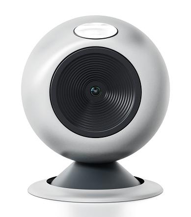 Generic Computer Webcam Isolated On White - Fotografie stock e altre immagini di Affari