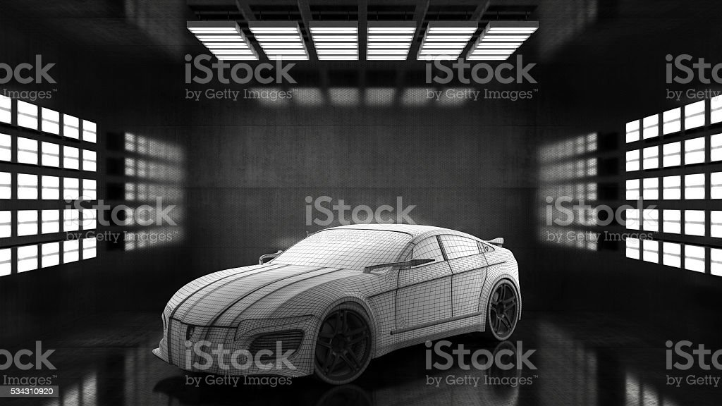Generic conceptual sports car in studio stock photo