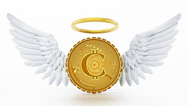 generische kryptowährungsmünze mit engelsflügeln und halo auf weiß isoliert - engelsflügel kaufen stock-fotos und bilder