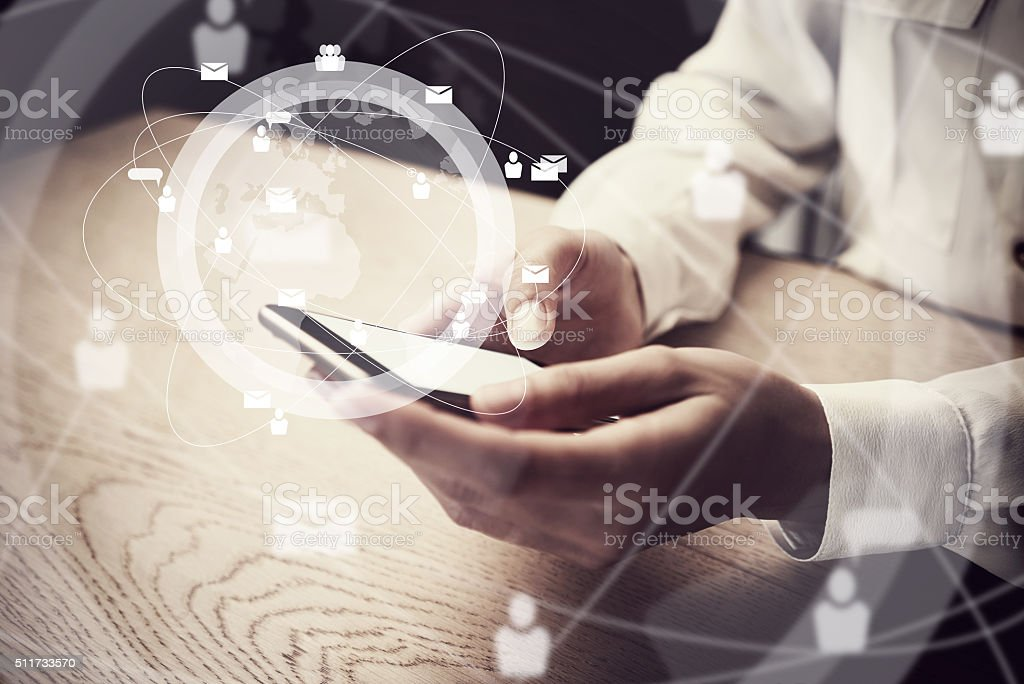 Generic design smartphone holding in female hands texting  message. Digital stock photo