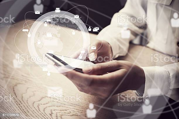 Generic Design Smartphone Holding In Female Hands Texting Message Digital Stock Photo - Download Image Now