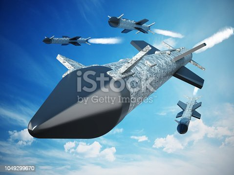 Generic flying ballistic missile against blue background.