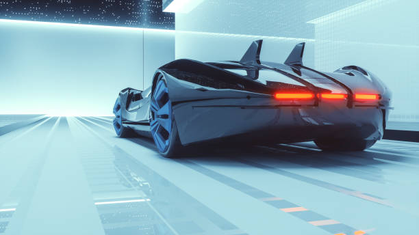 Generic futuristic sports car concept Generic futuristic sports car concept. Vehicle design is custom made and not based on any brand/model. concept car stock pictures, royalty-free photos & images