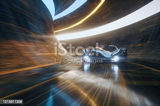 Generic futuristic sports car speeding in the underground tunnel. Vehicle design is not based on any real model/brand.