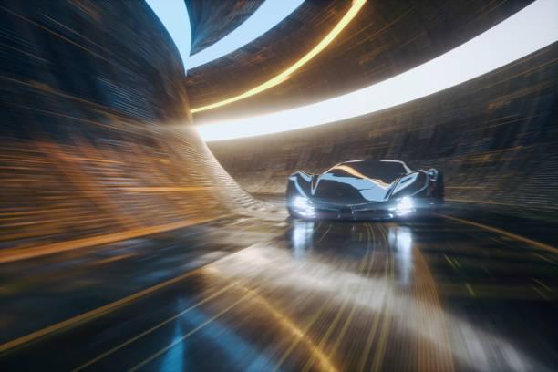 Generic futuristic sports car speeding in the underground tunnel - foto stock