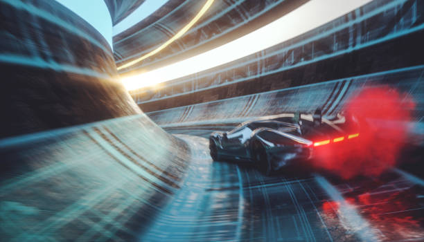 generic futuristic sports car speeding in the underground tunnel - motorsport stock photos and pictures