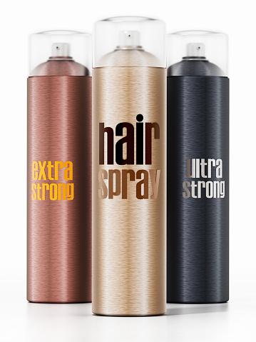 Generic hair spray bottles isolated on white background.
