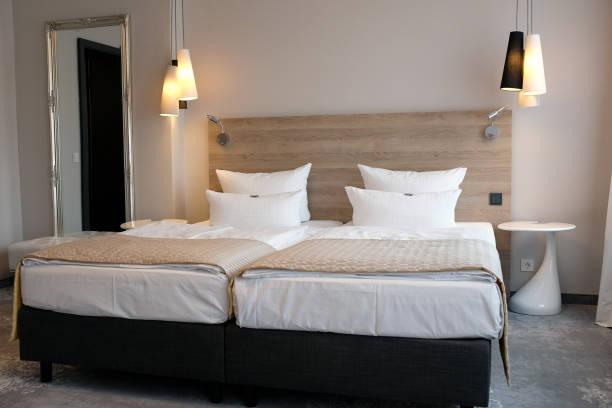 Generic hotel bedroom. stock photo