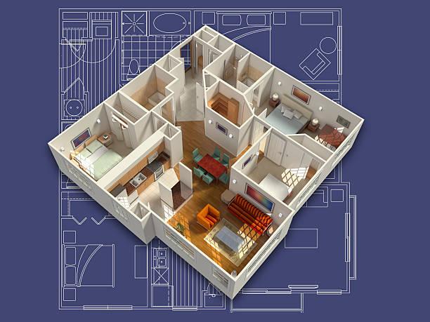 3 D Interior de la casa genéricos - foto de stock