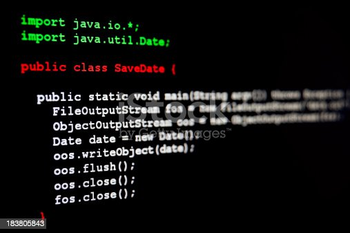 Generic java programming code written on black.See the SQL code as well