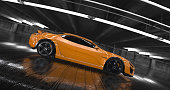 Generic Luxury orange concept sports car 3d render. Reflections all around.