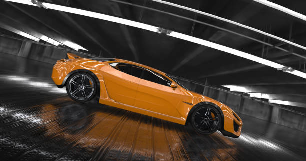 Generic Luxury orange concept sports car 3d render Generic Luxury orange concept sports car 3d render. Reflections all around. sports car stock pictures, royalty-free photos & images