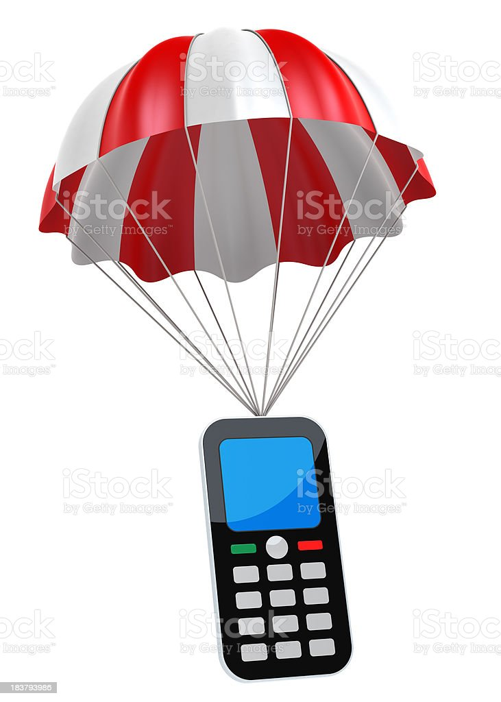 Generic Mobile Phone and Parachute stock photo
