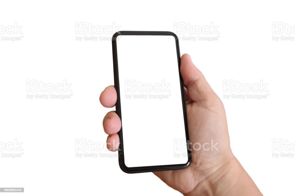 Generic mobile phone hand isolated royalty-free stock photo
