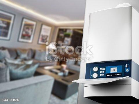 istock Generic modern boiler in house interior 944102374