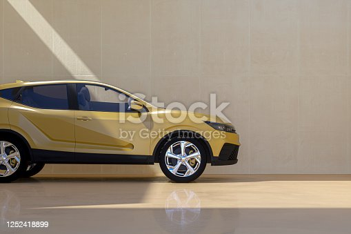 Generic modern car against concrete wall. This is entirely generic, brandless vehicle modelled without any real references. Entiely 3D generated image.