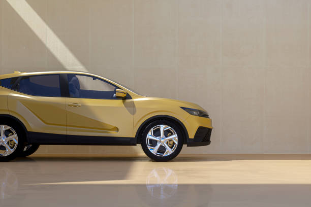 Generic modern car against concrete wall stock photo