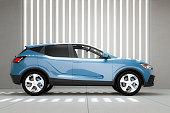 istock Generic modern SUV car in concrete garage 1307086567