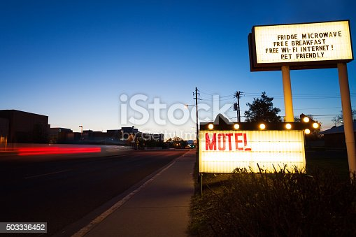 Generic Motel sign in the interstate road in US town