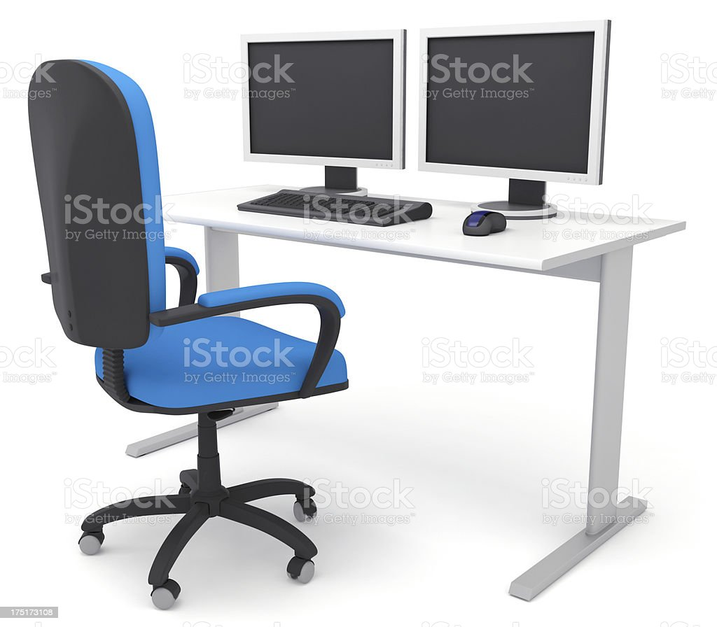 Generic Office Desk With Dual Monitors Stock Photo Download Image Now Istock