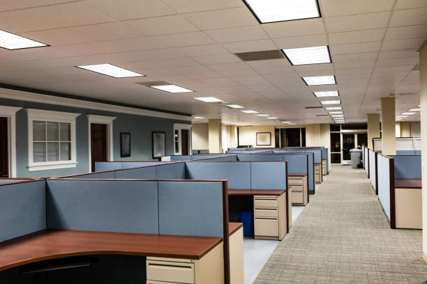 generic office space ready to be occupied - office cubicle stock pictures, royalty-free photos & images