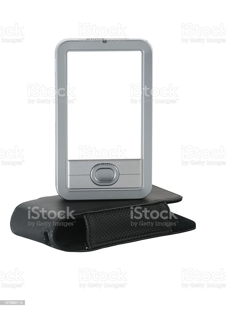 Generic PDA and leather case with two clipping paths royalty-free stock photo