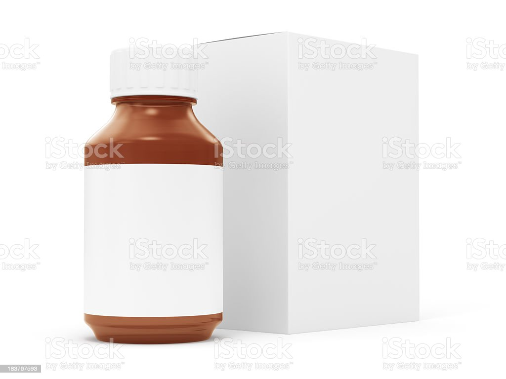 Generic Pill Bottle and Box stock photo