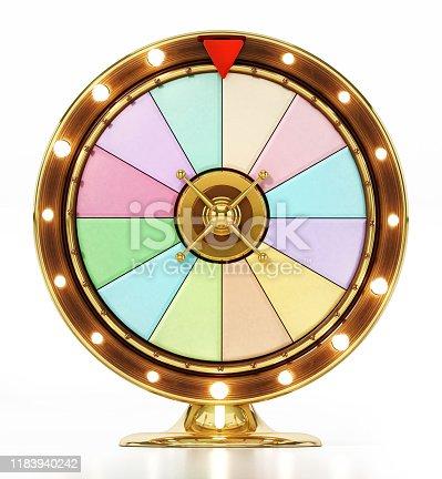 Generic prize wheel isolated on white background.