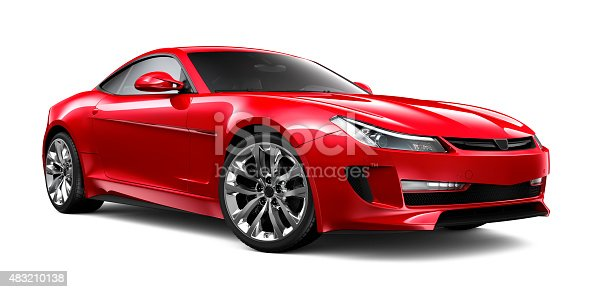 Generic red sports car isolated on white background