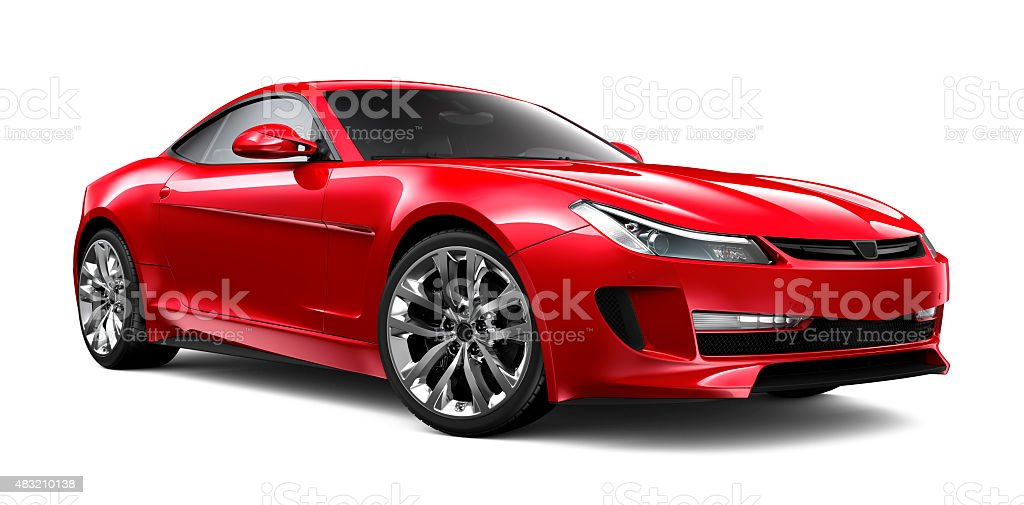 Generic red car isolated on white stock photo
