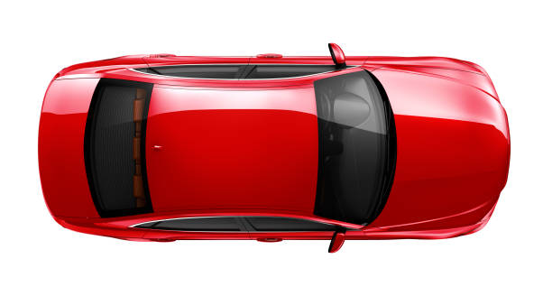Generic red car - top angle Generic sedan car isolated on white background vehicle hood stock pictures, royalty-free photos & images