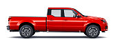 Generic red pickup truck isolated on white background