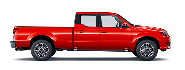 genel kırmızı pikap kamyon tarafı görünümü - pikap stok fotoğraflar ve resimler