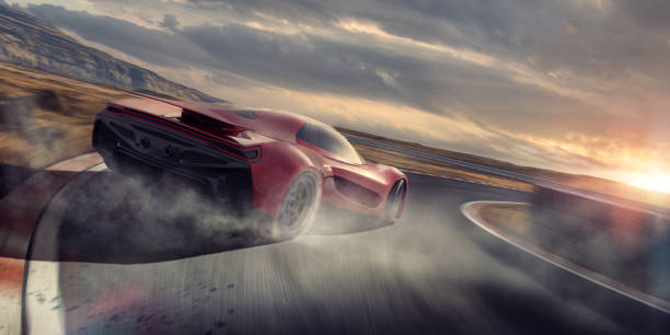 generisches red sports car drifting around racetrack corner at speed - autosport stock-fotos und bilder