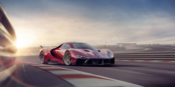 generic red sports car moving at high speed on racetrack - consumo exibicionista imagens e fotografias de stock