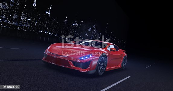 istock Generic Red sports car moving on highway in the city at night 961809270