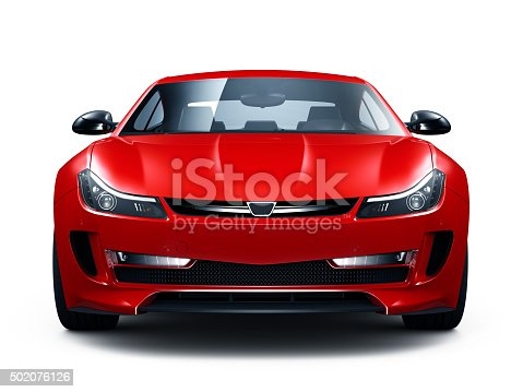 Generic red car isolated on white background