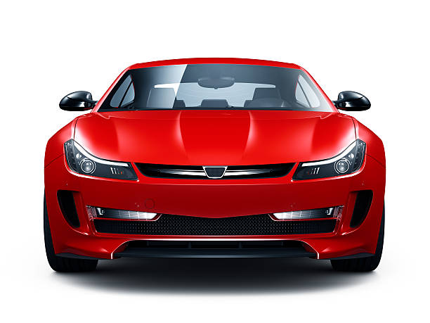 generic red sports car - front view stock photos and pictures