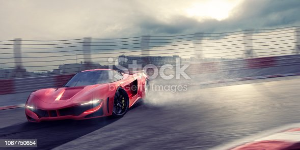 A generic red sports car drifting sideways around a corner of a racetrack in an urban setting. The sports car moves at high speed, wheels spinning and tyre smoke coming from the back wheels, under a dark and cloudy evening sky. Motion blur on the track and fence.