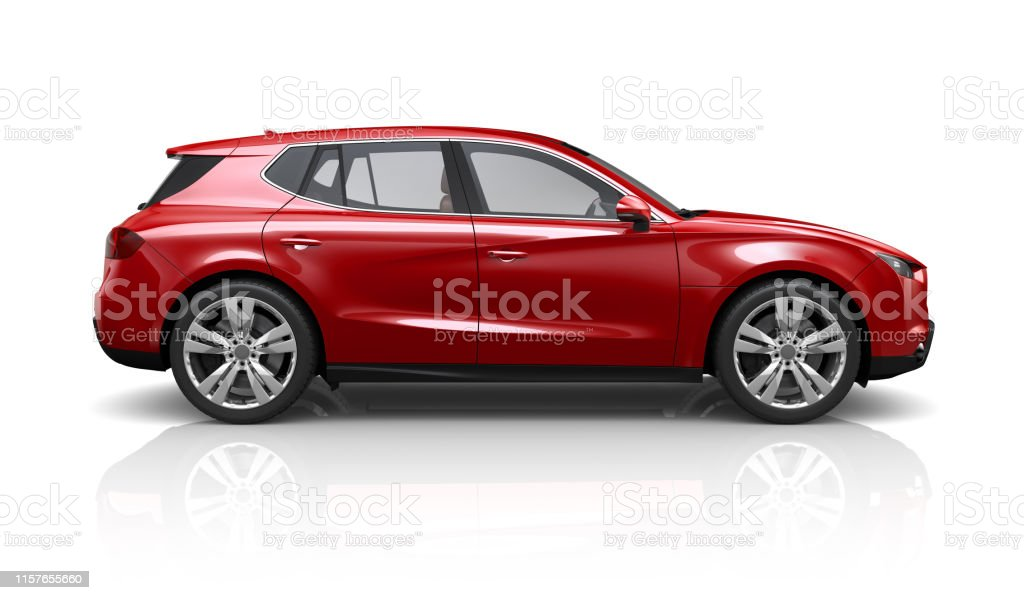 Generic red SUV on a white background - side view Generic red SUV on a white background - side view Car Stock Photo