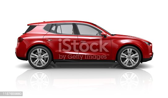 Generic red SUV on a white background - side view