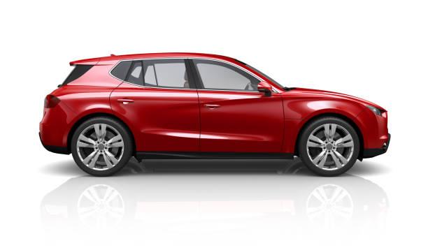 suv rosso generico su sfondo bianco - vista laterale - auto foto e immagini stock