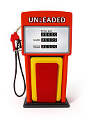 Generic retro gas pump isolated on white