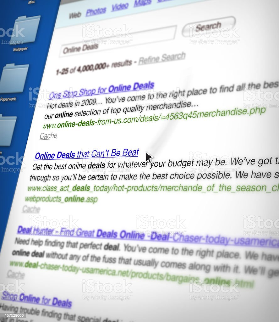 Generic Search Results Page stock photo