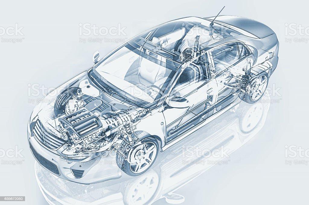 Generic sedan car detailed cutaway representation. stock photo